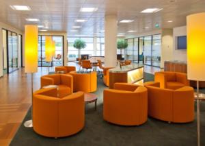orange office interior